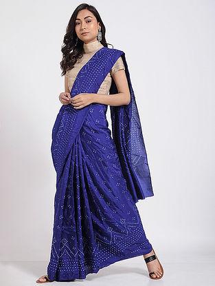 Blue-Ivory Bandhani Mulberry Silk Saree