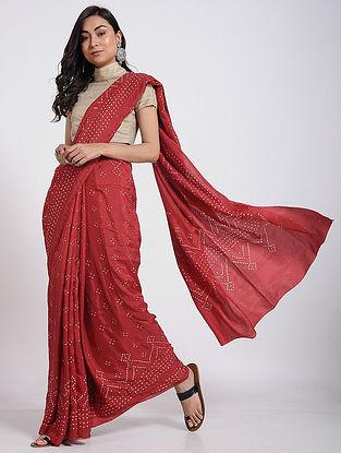 Red-Ivory Bandhani Mulberry Silk Saree