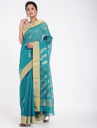Blue Cotton Silk Saree with Zari