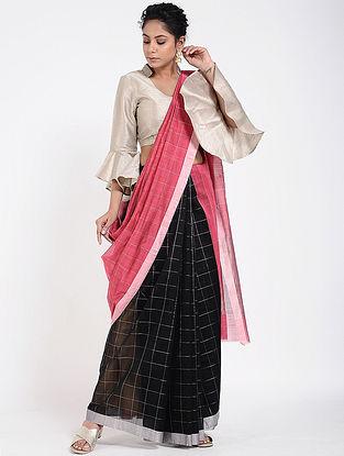 Black-Pink Cotton Silk Saree with Zari