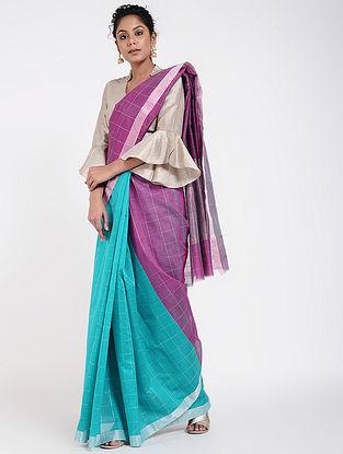Purple-Blue Cotton Silk Saree with Zari