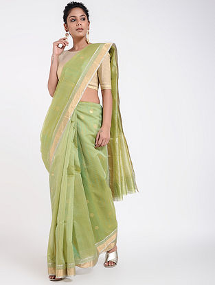 Green Cotton Silk Saree with Zari