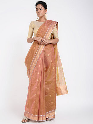 Peach Cotton Silk Saree with Zari