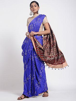 Blue-Red Bandhani and Ajrakh-printed Gajji Silk Saree with Tassels