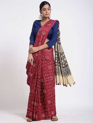 Red-Ivory Bandhani and Ajrakh-printed Gajji Silk Saree with Tassels
