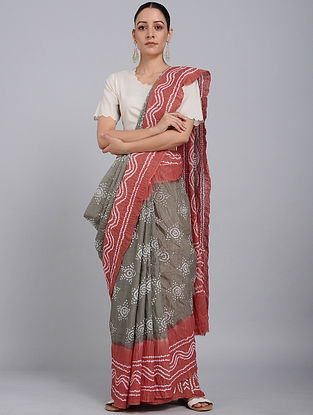Grey-Ivory Bandhani Mul Cotton Saree
