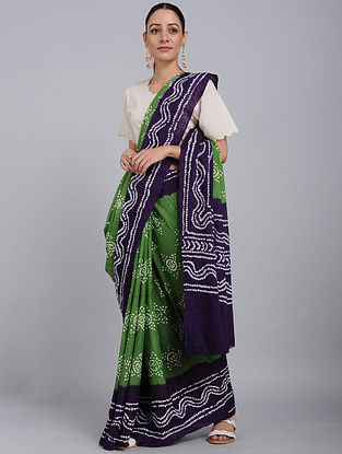 Green-Purple Bandhani Mul Cotton Saree