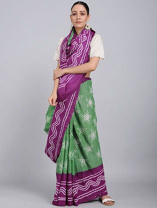 Green-Magenta Bandhani Mul Cotton Saree