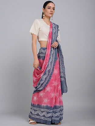 Pink-Grey Bandhani Mul Cotton Saree