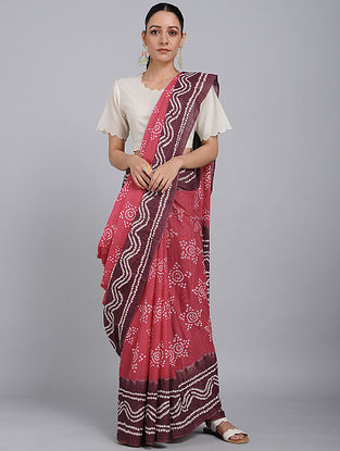 Pink-Ivory Bandhani Mul Cotton Saree