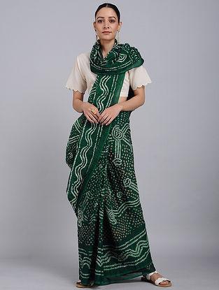 Green-Ivory Bandhani Mul Cotton Saree