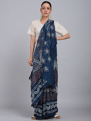 Indigo-Ivory Bandhani Mul Cotton Saree