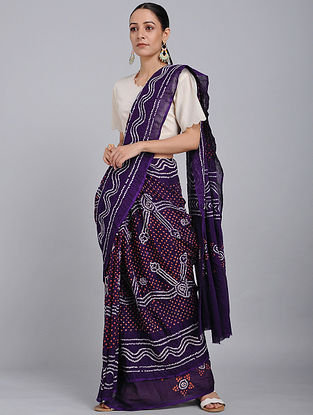 Purple-Red Bandhani Mul Cotton Saree