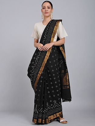Black Bandhani Mangalgiri Cotton Saree with Zari
