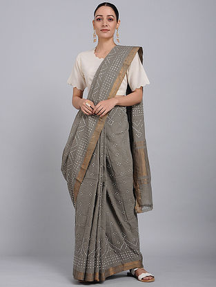 Grey-Ivory Bandhani Mangalgiri Cotton Saree with Zari