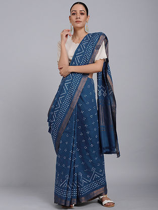 Indigo Bandhani Mangalgiri Cotton Saree with Zari
