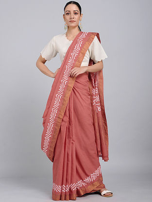Red-Ivory Bandhani Mangalgiri Cotton Saree with Mukaish Work and Zari
