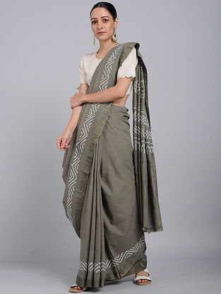 Grey-Ivory Bandhani Mangalgiri Cotton Saree with Mukaish Work and Zari
