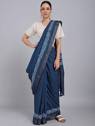 Indigo Bandhani Mangalgiri Cotton Saree with Mukaish Work and Zari
