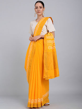 Yellow Bandhani Mangalgiri Cotton Saree with Mukaish Work and Zari