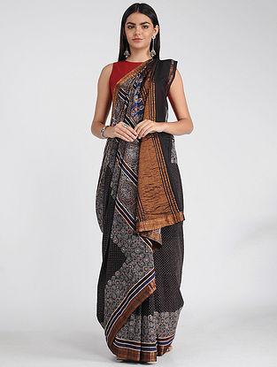 Blue-Ivory Ajrakh-printed Mangalgiri Cotton Saree with Zari