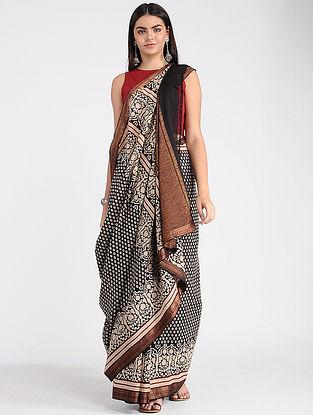 Black-Ivory Ajrakh-printed Mangalgiri Cotton Saree with Zari