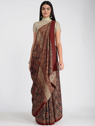 Red-Beige Ajrakh-printed Modal Cotton Saree with Zari