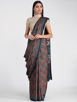 Blue-Red Ajrakh-printed Modal Cotton Saree with Zari