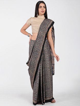 Blue-Ivory Ajrakh-printed Modal Cotton Saree with Zari