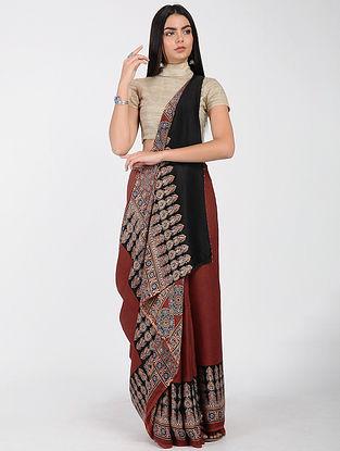 Red-Black Ajrakh-printed Modal Cotton Saree with Zari