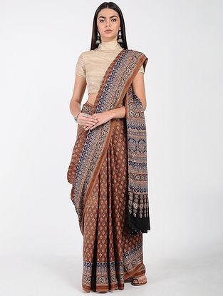 Brown-Blue Ajrakh-printed Modal Cotton Saree with Zari