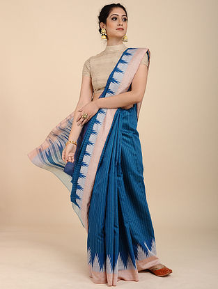 Blue-Ivory Mulberry Tussar Silk Saree