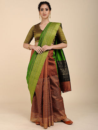 Green-Rust Tussar Raw Silk Saree with Zari