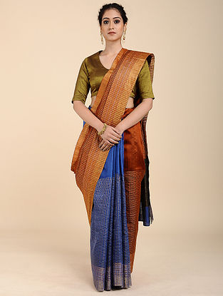 Rust-Blue Tussar Raw Silk Saree with Zari