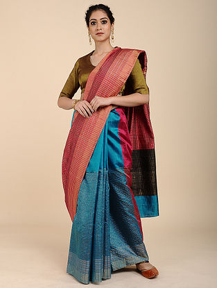 Pink-Blue Tussar Raw Silk Saree with Zari