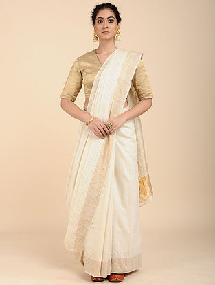 Ivory Mulberry Tussar Silk Saree with Zari