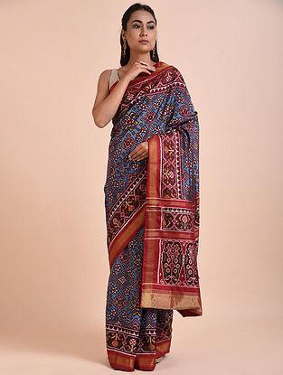 Blue-Red Rajkot Patola Mulberry Silk Saree