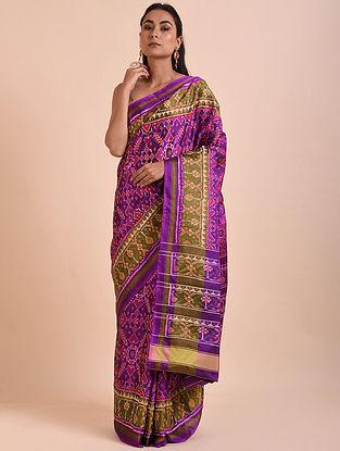 Purple-Pink Rajkot Patola Mulberry Silk Saree