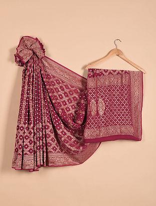 Purple Benarasi Bandhani Silk Georgette Saree