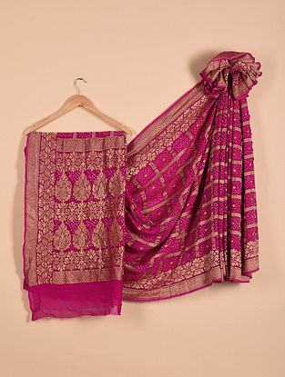 Purple Benarasi Bandhani Silk Georgette Saree