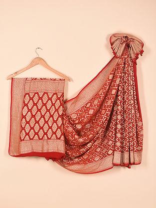 Red Benarasi Bandhani Silk Georgette Saree