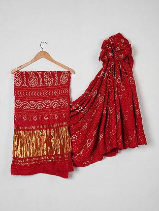 Red-White Bandhani Gajji Silk Saree