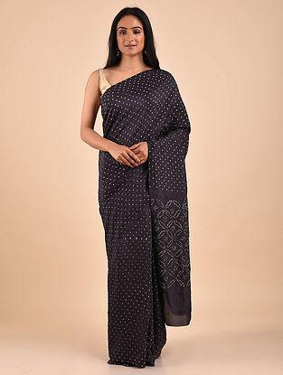 Black-White Bandhani Mulberry Silk Saree