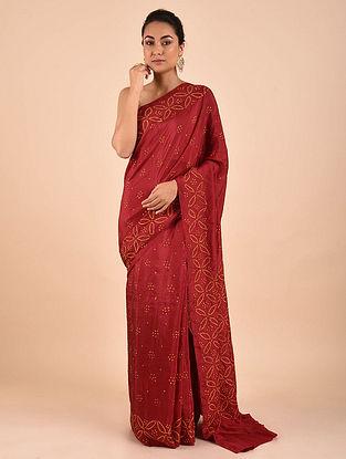 Red Bandhani Mulberry Silk Saree