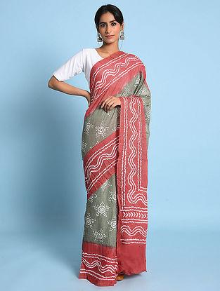 Grey-Pink Bandhani Mul Cotton Saree