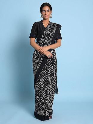Black-Ivory Bandhani Mul Cotton Saree