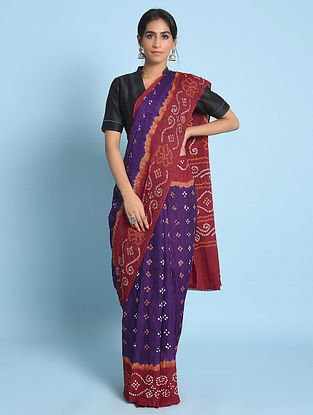 Blue-Red Bandhani Mul Cotton Saree