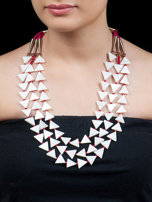 Golden - White - Red Triangular Mother Of Pearl Necklace