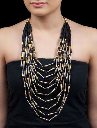 Golden - Black Ten Line Icecream Necklace
