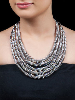 Silver - Black African Necklace